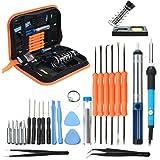 Soldering Iron Kit - Iron Soldering Kit - 110V/220V 60W Adjustable Temperature Welding Soldering Iron Tool Kit - 220V EU Plug (Adjustable Soldering Iron Kit)