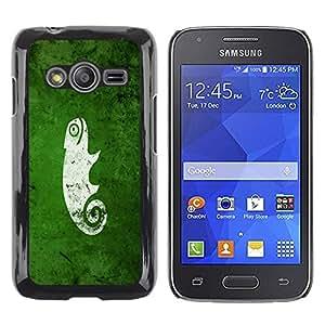 Be Good Phone Accessory // Dura Cáscara cubierta Protectora Caso Carcasa Funda de Protección para Samsung Galaxy Ace 4 G313 SM-G313F // Funny Cute Green Nature Chameleon