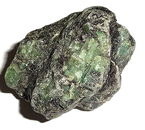 1pc #8AA Large Raw / Natural / Green Emerald / with Silver / Green Beryl / Premium Crystal Healing Gemstone, Rough , Display Specimen / Sacred Stone