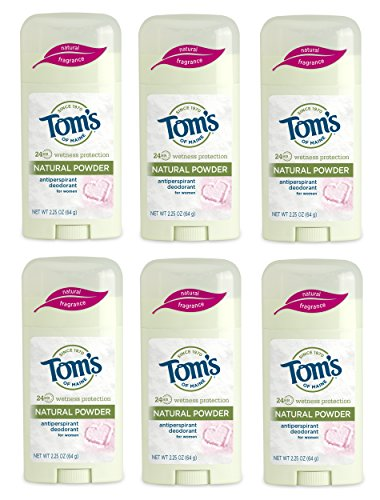 Tom's of Maine Natural Women's Stick Antiperspirant Deodorant, Powder, 2.25 Ounce, Pack of 6