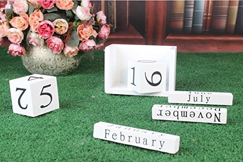 URToys 1Pcs Black/White Creative Perpetual Wooden Calendar Desktop Block DIY Yearly Planner Home Decoration Figurines Miniatures Ornaments Desk Office Stationery by URToys (Image #2)