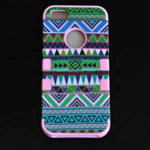 Tribal Tribe Hybrid Vintage National Hard Case Cover for iphone 5 (Pink/Green)