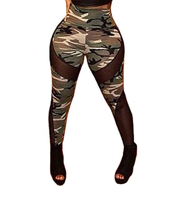 6060629224939 Gemgeny Womens Camouflage Skinny Military Active Spandex Leggings Sexy Mesh  High Waist Workout Yoga Pants: Amazon.ca: Clothing & Accessories
