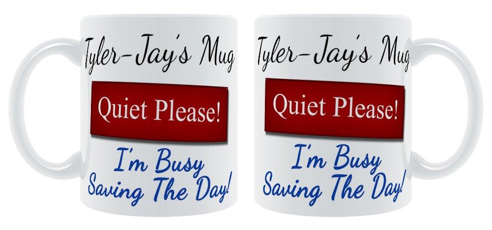 Taylor-JAY de taza silencio por favor I m Busy de bajo consumo el día! - taza personalizable macho nombre: Amazon.es: Hogar