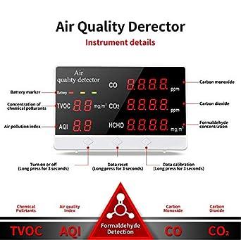 Festnight Monitor de calidad del aire Detector de formaldeh/ído Medidor de contaminaci/ón Medidor de interior HCHO TVOC Probador de aire en tiempo real con pantalla LCD