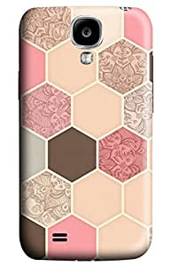CaseandHome Cream Hexagon Doodle Pattern Design PC Material Hard Case for Samsung Galaxy I9500 S4