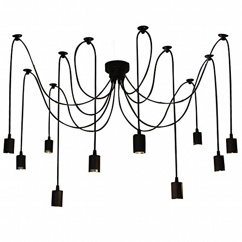Lixada 10 Arms Chandelier Lamp Holder E27 Ceiling Pendant Lamp DIY Spider Light Antique Classic Adjustable Dining Hall Bedroom Home Lighting Accessories