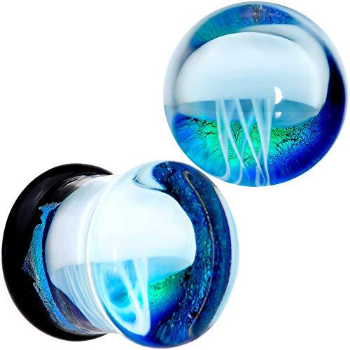 Body Candy 2Pc Blue White Glass Nautical Jellyfish 7/16