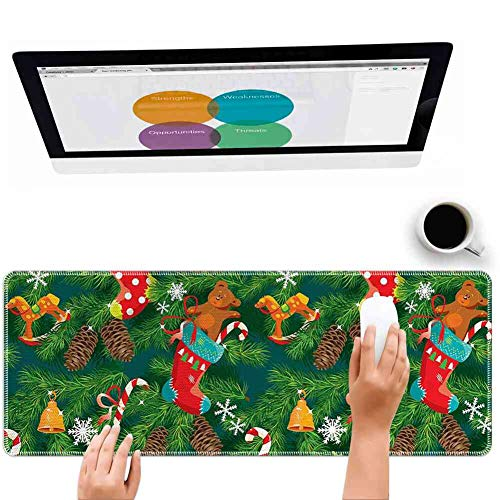 Mouse Pad Large Mousepad for Gaming Christmas Xmas Accessories Stockings Candies Horse Teddy Bear Toys on Pine Dark Green Brown and Red Big Rubber Cloth Mat (31.5 x 11.8 x 0.12 Inch)