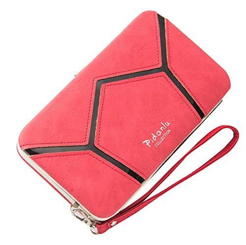 New Convenient Women's Phone Package, High-Capacity PU leather Long Geometry Sequins Clutch Wallet, Multi-function Ladies Long Style Handbag Purse Cellphone Case for Iphone Samsung (Red)