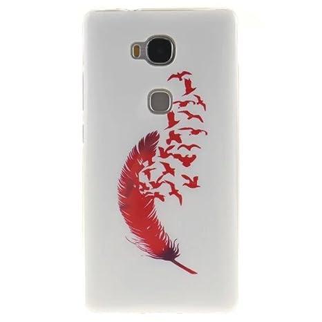 FEING Huawei Honor 5X Carcasa, Funda de TPU Cáscara TPU Carcasa Tapa Case Back Cover para Huawei Honor 5X con Película de Pantalla x1 & Stylus Pen x1 ...