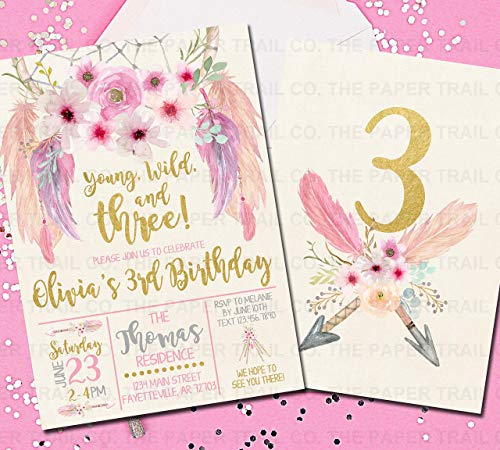 (Boho Dream Catcher Birthday Invitations, Young Wild and Three, 3rd Birthday, Pink and Gold)