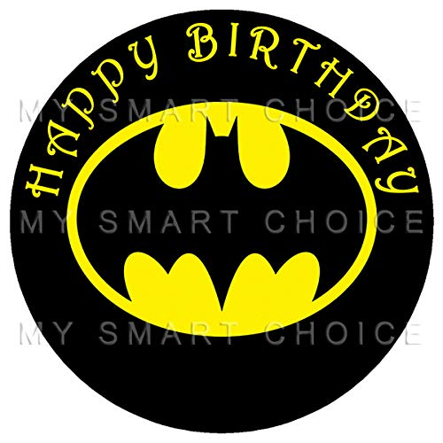 7.5 Inch Edible Cake Toppers - Batman Classic Logo Themed Birthday Party Collection of Edible Cake Decorations (Batman Edible Cake Decorations)