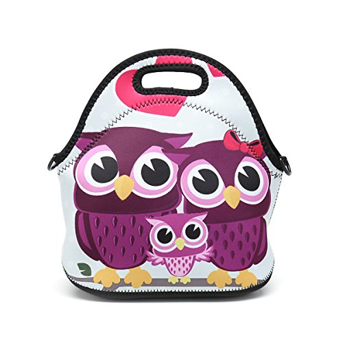 Boys Girls Kids Women Adults Insulated School Travel Outdoor Thermal Waterproof Carrying Lunch Tote Bag Cooler Box Neoprene Lunchbox Container Case (Cute Three (Owl Containers)