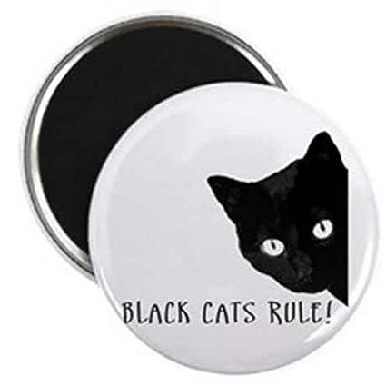 Un Gato Redondo Iman Para Nevera Con El Texto Gato Negro Regla Y Un