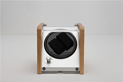 LQUIDE Automática Watch Winder,Madera De Artesanía A Bambú,Gran Ventanilla Transparente,4