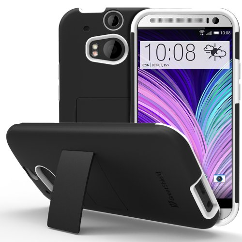 HTC One M8 Stand Case, GreatShield Legacy Series Ultra Slim Fit Hybrid Snap On Case Back Cover with Kickstand for HTC One M8 (2014) -Black & White
