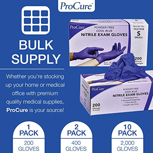 ProCure Disposable Nitrile Gloves – Powder Free, Rubber Latex Free, Medical Exam Grade, Non Sterile, Ambidextrous - Soft with Textured Tips – Cool Blue (Medium, 2000 Case) by Medacure (Image #5)