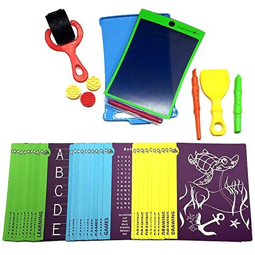 (Magic Sketch Deluxe KIT | LCD Writing Board, Drawing, Doodle, Learning Tablet | Includes Protective Cover, 60 Stencils, 4 Styluses, 1 Stamp Roller & 3 Stamps | Kids, Office, School, House, Car Rides)