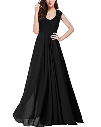 ec6306aad3d OFTEN Women s Chiffon Bridesmaid Deep-V Neck Sleeveless Vintage Maxi Dress  Black Small Skirts