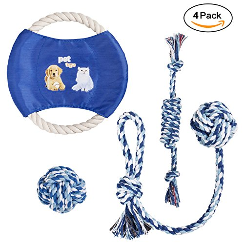 Dog Chew Rope Toys Set Dog Toys, Puppy Cotton Teeth Cleaning Toys and Training Frisbee for Small to Medium Dogs