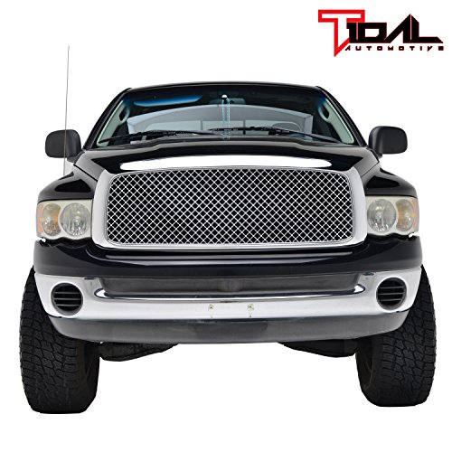 Tidal Replacement Upper Grille Front Hood Grill for 02-05 Dodge Ram 1500/03-05 Dodge Ram 2500 3500 Heavy Duty