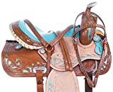 AceRugs Rough Out Blue Inlay Western Barrel Racing Pleasure Trail Leather Horse Saddle TACK Set 14″ 15″ 16″