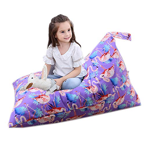 (Gatycallaty Stuffed Animal Kid Bean Bag Chair - Comfortable & Soft Seat for Nursery Stylish Chair/Ottoman/Pouf for Boys & Girls Storage Stuffed Animals and Blankets (Purple Flamingo, 25 Inch))