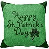 "Happy St Patricks Day Clover Decorative Pillow Case 18"" * 18"""