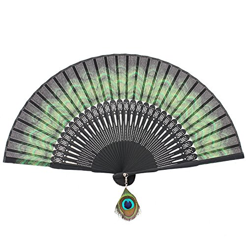 Victorian Hand Fans – Ladies Fans Bamboo Folding Fan Handheld Fan Peacock Feather Pattern $12.99 AT vintagedancer.com