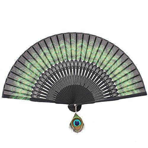 Victorian Hand Fan, Gloves, Belt Accessories Bamboo Folding Fan Handheld Fan Peacock Feather Pattern $12.99 AT vintagedancer.com