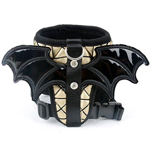 Zunea Puppy Dog Vest Harness Lead Set Bat Wings Soft Mesh Padded Pet Halloween Costume with Comfortable Foam Handle for Teddy Chihuahua Pomeranian Yorkshire Terrier Small Dogs and Cats (Gold, M) ()