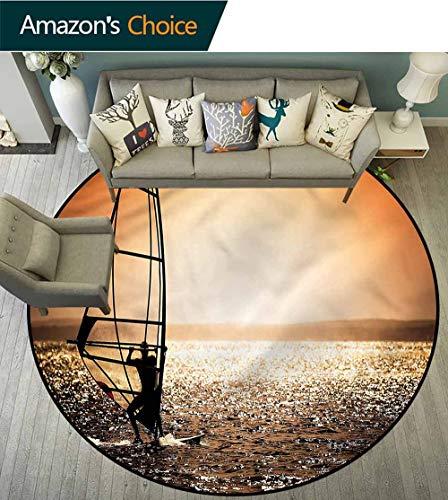 (RUGSMAT Coastal Modern Machine Washable Round Bath Mat,Windsurfer at Sunset Living Room Bedroom Study Soft Carpet Round-39)