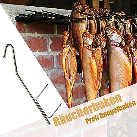 Ganchos, 10piezas, profesional doble gancho para pescado, ahumado, 21cm