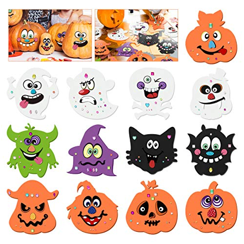 Unomor Halloween Crafts Kit for Kids, Foam DIY Pumpkin Decorating with 20 Sets Expression Stickers, 12 Broad Patterns and 81pcs Diamond Stickers for Halloween Games