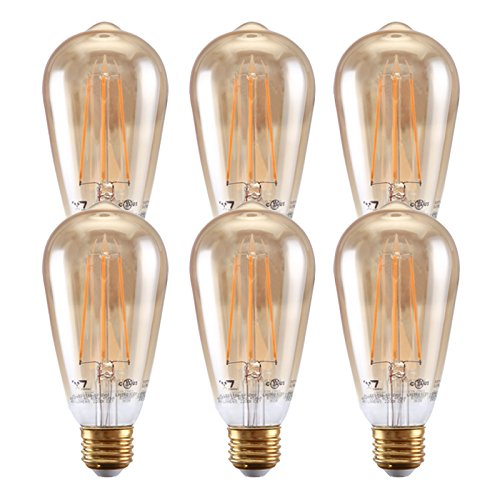 - 7Pandas Dimmable 4.8W LED Filament, UL Listed Antique Edison Bulb, 2200K 120V 400 Lm, E26 Vintage Bulb for Pendant, Decorative Lighting, 40W Incandescent Bulb Equivalent , 6- Pack ST19 / ST64 Amber