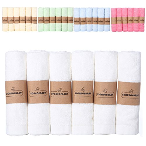 Storeofbaby Baby Washcloths Set Bamboo Newborn Baby Towels Reusable Wipes100% Natural Dye Free White Soft Pack of 6 10