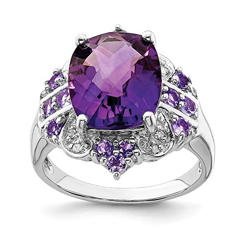 - Sonia Jewels Size 10 Sterling Silver Simulated Amethyst, Tanzanite & Diamond Ring (2mm)