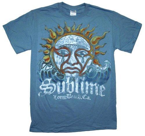 Sublime Blue Sun Logo Watercolor Rock Band T-Shirt, L