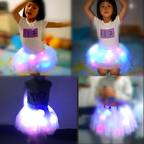 Geek3c Kids Light Up Tutu Skirts, Ballet Skirt Dance Short Cute Net Yarn for Birthday Party Gift Present Frozen Crown (Multicolor (2~4Years)) by Geek3c (Image #3)