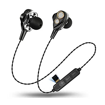 KOBWA 4 Altavoces Doble Movimiento Anillo 6D Surround Wireless Bluetooth Headset 4.1 Card Stereo Music Auriculares Inalámbricos Deportivos Auriculares, ...