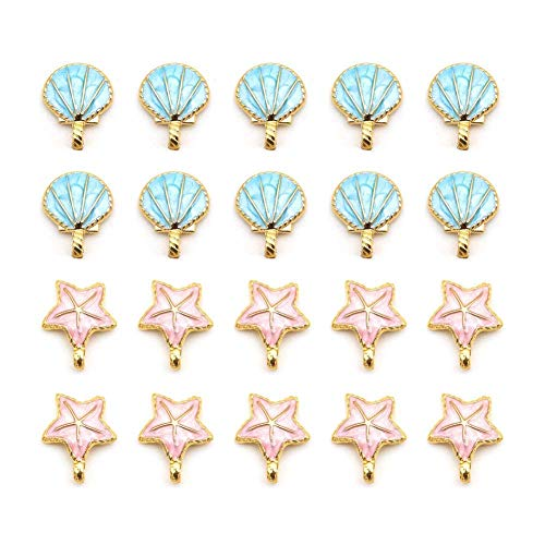 20 pcs Seashell Starfish Charms, Starfish Metal Beads, Alloy Charms Pendants for Jewelry Making and Crafting (Blue and Pink)