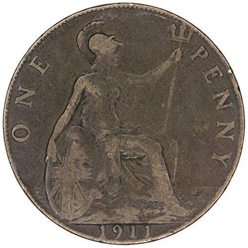 1911 UK UK George V Great Britain British Bronze Penny KM# 810 Penny FAIR