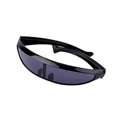 e813d0b634 Futuristic Narrow Cyclops Novelty Party Shield Sunglasses Single Lens  Shades (Black