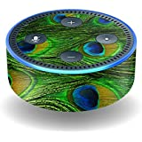 MightySkins Protective Vinyl Skin Decal for Amazon Echo Dot (2nd Generation) wrap cover sticker skins Peacock Feathers