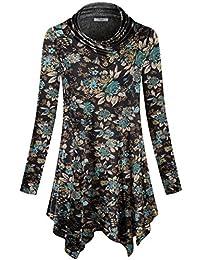 Womens Long Sleeve Cowl Neck Asymmetrical Hemline Flowy...