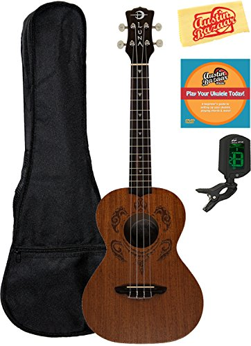 Luna Honu Mahogany Tenor Ukulele Bundle with Gig Bag, Tuner, Austin Bazaar Instructional DVD, and Polishing Cloth by Luna Guitars