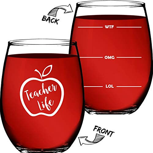 "Teacher Gifts For Women or Men - Appreciation Gifts - 15 OZ Stemless Wine Glass ""Teacher Life"" Funny Christmas Presents For Teachers or Professors - By Funny Bone Products"