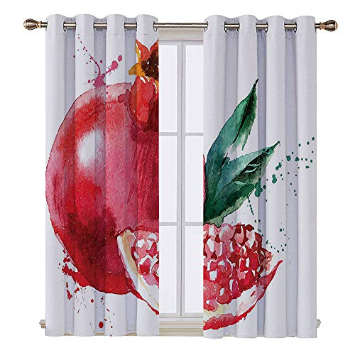 108 Pomegranate - SATVSHOP Solid Ring top Blackout Window Curtains/Drapes Two Panels - 120W x 108L Inch- Fruit Pomegranate Hand Drawn Watercolor Style Paint Yummy Juicy Winter Taste Artwork for t Green.