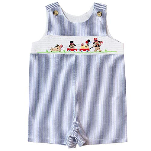 Good Lad Newborn/Infant Boys Smocked July 4th Embroidered Seersucker Shortall (18M) Navy